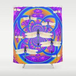 Blue-Purple Floral Dragonflies Geometric Art Design Shower Curtain
