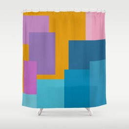 Happy Color Block Geometrics in Yellow, Blue, Purple, and Pink Shower Curtain