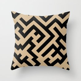 Black and Tan Brown Diagonal Labyrinth Throw Pillow