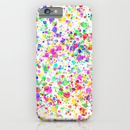 Abstract vivid multi coloured paint splatter effect iPhone Case