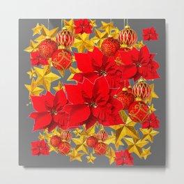 RED-GOLD ORNAMENTS POINSETTIAS  GREY ART Metal Print