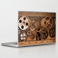steam punk Laptop & iPad Skins featuring Steam Punk Gears by GrimDork