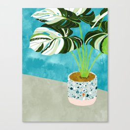 Variegated Monstera #tropical #painting #nature Canvas Print