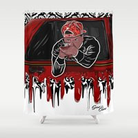 lebron Shower Curtains featuring 100 Meter Dash! by SaintCastro