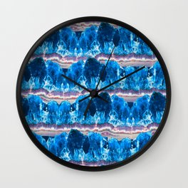 Blue Agate Geode Mountains Wall Clock