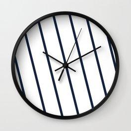Yacht style. Navy blue diagonal stripes. Wall Clock
