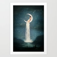 lady Art Prints featuring Moon River Lady by Paula Belle Flores