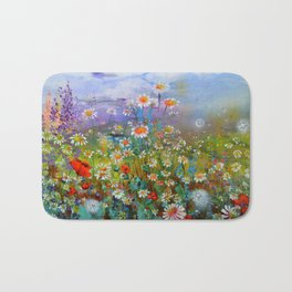 Poppies and Daisies - Flowers Field Painting Bath Mat