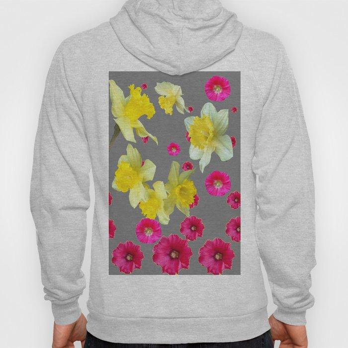 FUCHSIA FLOWERS & YELLOW DAFFODILS DESIGN Hoody