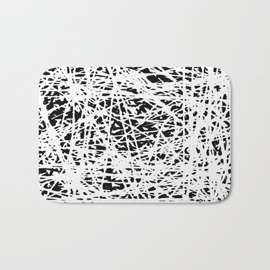 Whispers In the Dark - Black and White Abstract Bath Mat