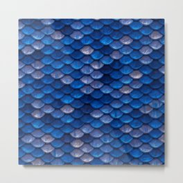 Blue Penny Scales Metal Print
