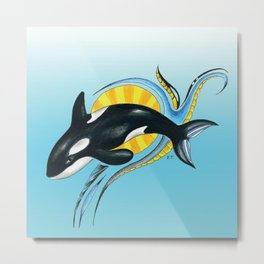 Cute Baby Orca Blue Ink Marker Art Metal Print