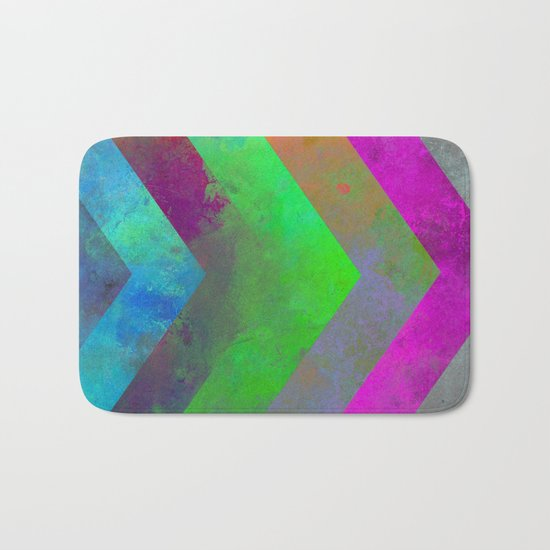 Textured Direction - Abstract, multi coloured, geometric painting Bath Mat