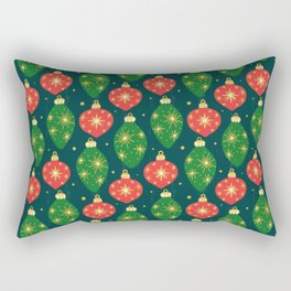 Vintage Festive Hand-painted Christmas Tree Ornaments with Beautiful Acrylic Texture on Dark Teal Color Rectangular Pillow