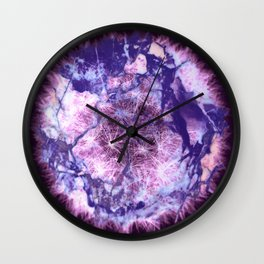 dandelion planet on violet Wall Clock
