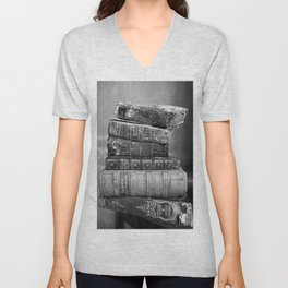 Antique leather-bound books, novels, poetry black and white photograph / vintage black and white photography Unisex V-Neck