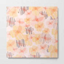Boho Flower Patch Pattern in Blush, Mustard, and Navy Blue Metal Print
