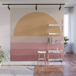 Minimal Retro Sunset / Sunrise - Warm Pink Wall Mural