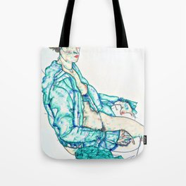 12,000pixel-500dpi -Egon Schiele - Sitting Semi-Nude with Blue Hairband - Digital Remastered Edition Tote Bag