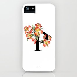 Letter 'P' Peruvian Lily Flower Monogram Typography iPhone Case