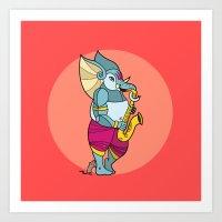 saxophone Art Prints featuring Ganesha Saxophone by Karthik