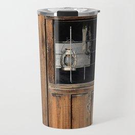 Rustic Cabin Window With Oil Lantern Travel Mug