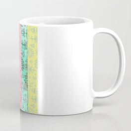 Lily & Lotus Layers in Mint Green, Coral & Buttercup Yellow Coffee Mug