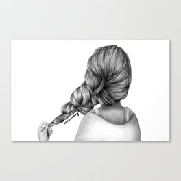 Girl Holding Hair Braid Pencil Drawing Canvas Print
