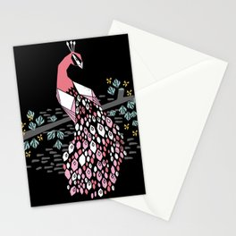 Peacock bird art screen print by andrea lauren floral nature animal decor Stationery Cards