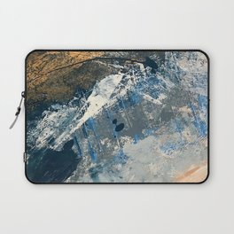 Wander [3]: a vibrant, colorful abstract in blues, pink, white, and gold Laptop Sleeve