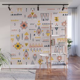 Vintage ethnic elements hand drawn on pastel background illustration pattern Wall Mural