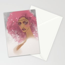 pink hair Stationery Cards