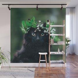 Black Cat in Flower Crown Wall Mural
