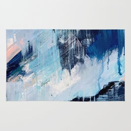 Vibes: an abstract mixed media piece in blues and pinks by Alyssa Hamilton Art Rug