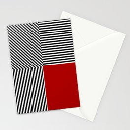 Geometric abstraction, black and white stripes, red square Stationery Cards