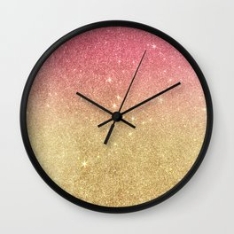 Pink abstract gold ombre glitter Wall Clock