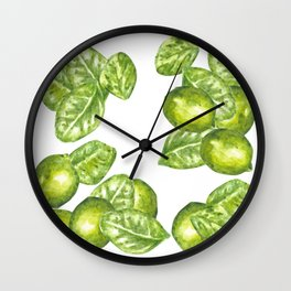 Watercolor Limes and Leaves Wall Clock