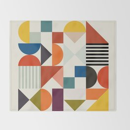 mid century retro shapes geometric Throw Blanket