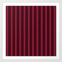 Strawberry Stripes Pattern - StripesV/BURGUNDY Art Print