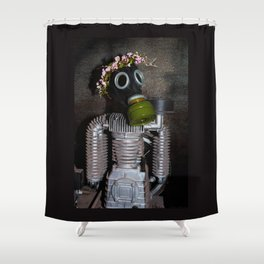 Household robot with gasmask Shower Curtain