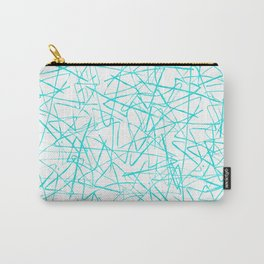 Ink Drawing Pattern, Teal Scribbles Carry-All Pouch