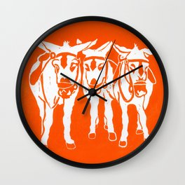Seaside Donkeys in Orange Wall Clock