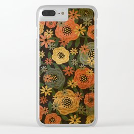 Grunge Floral Clear iPhone Case