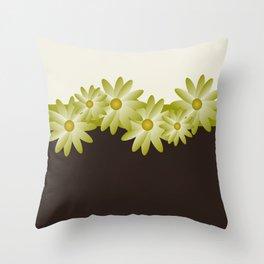Green Daisy Throw Pillow