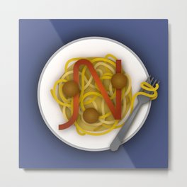N is for Noodles. Metal Print