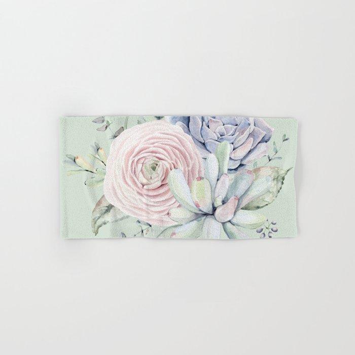 Mint Green + Pink Delight Succulents Hand & Bath Towel