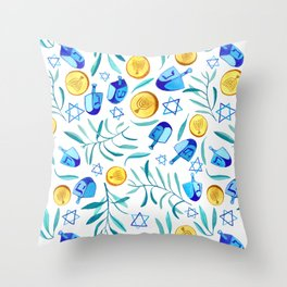 Hanukkah Dreidels Jewish Holiday Watercolor Pattern  Throw Pillow