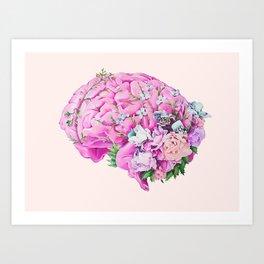 Floral Brain Pale Pink Art Print