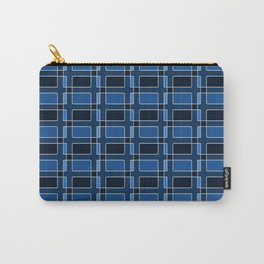 Silver Foil Utilitarian Geometric Squares Classic Blue Carry-All Pouch