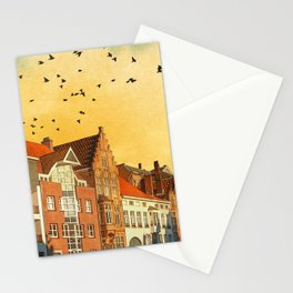 Landscape with beautiful medieval houses and canals. Bruges, Belgium. Stationery Cards